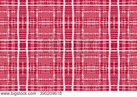 Red And White Christmas Plaid. Seamless Buffalo Shirt. Scottish Tartan Texture. Vintage Graphic Blan