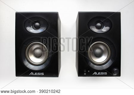 Calgary Alberta, Canada. Oct 17, 2020. Alesis Elevate 3 Monitor Speakers For Music Mix. Concept: Mus