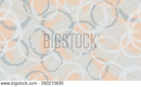 Colorful Hand Drawn Circles Geometry Fabric Print. Round Shape Stain Overlapping Elements Vector Sea