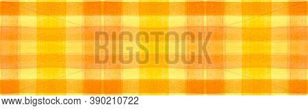 Yellow Tartan Background. Watercolour Plaid Textile. Man Traditional Stripes For Cloth Print. Seamle