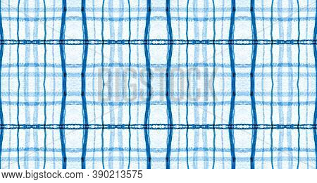 Plaid Fabric. White And Blue Picnic Texture. Seamless Irish Kilt. Abstract Checkered Flannel. Woven