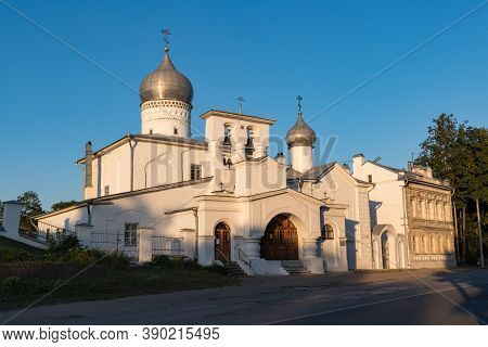 Orthodox Church Of Varlaam Khutynsky On Svenice Near The Old City Wall. Pskov, Russia