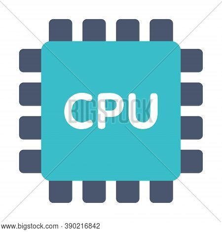 Microchip, Electronic Circuit Icon In Flat Style. Hardware Components, Chip, Microprocessor. Compute