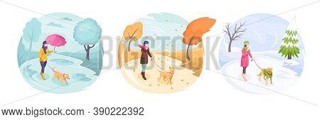 Pet Walking In Bad Weather, Woman With Dog In Park, Isometric Flat Illustration. Girl Walking Dog On