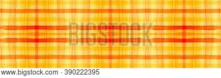 Orange Tartan Background. Watercolour Plaid Texture. Wool Geometric Stripes For Shirt Design. Seamle