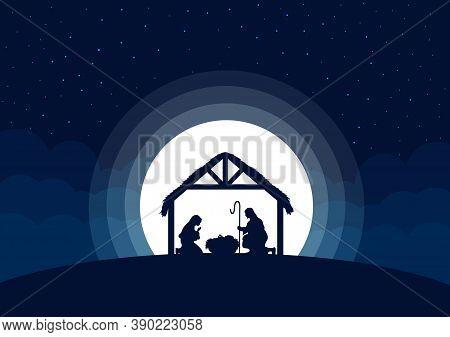 Nativity Scene, Birth Of Jesus. Mary And Joseph With Baby Jesus.