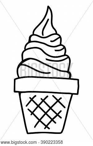 Black Color Doodle Line Handdrawing In Ice Cream With Cone Shape On White Background