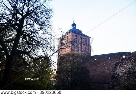 Inside And Structure Building Of Ancient Ruins Heidelberg Castle Or Heidelberger Schloss For German