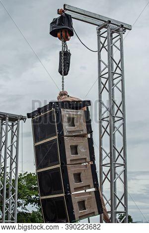 Stadium Speakers Rack Over A Blue Sky. Live Music Background. Horizontal