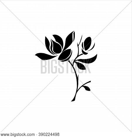 Continuous Line Drawing Vector. Graphical Flower Illustration. Green Flower, White Flower, Contour F
