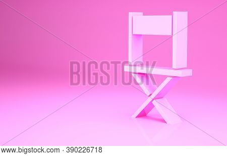 Pink Director Movie Chair Icon Isolated On Pink Background. Film Industry. Minimalism Concept. 3d Il