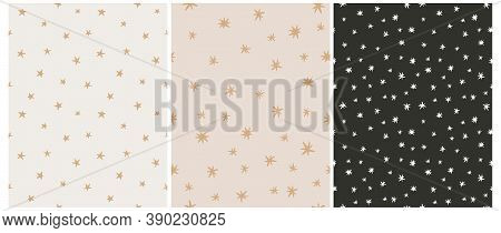 Simple Irregular Starry Seamless Vector Patterns. Simple Hand Drawn Stars Isolated On A Black And Be