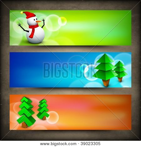Merry Christmas website header or banner with Xmas trees and snowman. EPS 10.