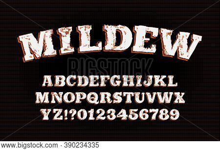 Mildew Alphabet Font. Messy Vintage Letters And Numbers. Vector Typescript For Your Typography Desig