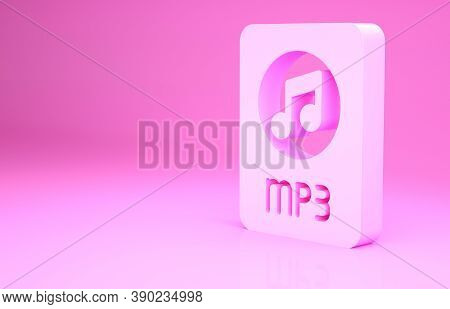 Pink Mp3 File Document. Download Mp3 Button Icon Isolated On Pink Background. Mp3 Music Format Sign.