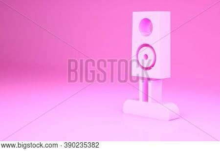 Pink Stereo Speaker Icon Isolated On Pink Background. Sound System Speakers. Music Icon. Musical Col