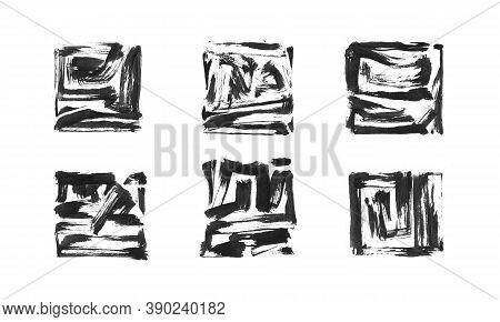 Black Ink Painted Grunge Dirty Square Frame Set. Isolated Quadrate Shape Illustration, Texture Brush