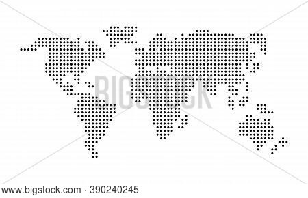Pixel World Map. Dotted World Map. Vector On Isolated White Background. Eps 10.