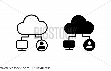 Cloud Technology Synchronization Icon. Cloud Computing Sync Icon. File Hosting Technology Symbol. Ve