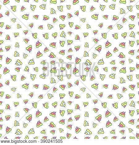 Vector Funny Seamless Pattern With Unicorn Poop. Rainbow Poo With Repeatable Elements.