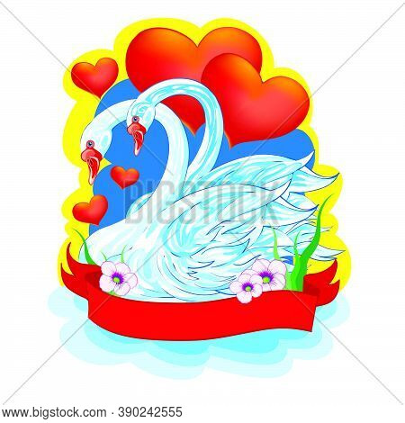 Two White Swans Swim In A Pair On A Background Of Red Hearts, Postcard, Congratulations, Valentine's