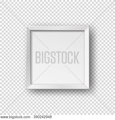 Vector Realistic Square Empty Picture Frame. Mockup Template With White Frame Boarder Isolated On Tr