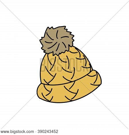 Warm Knitted Hat With A Pompom. Autumn Clothing. Doodle Style. Vector Illustration On White Isolated