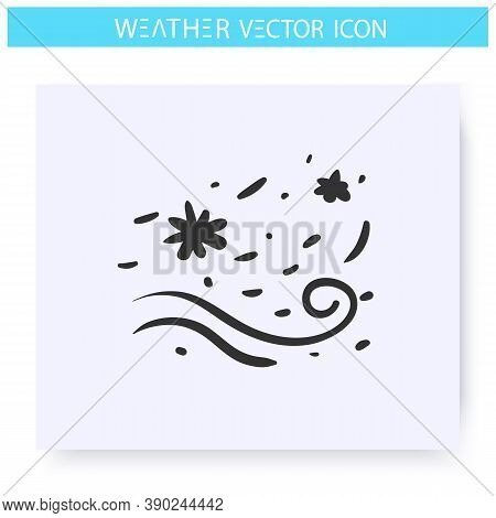 Blowing Snow Icon. Hand Drawn Sketch. Blizzard. Snowy Wind. Swirling Snowflakes. Winter Weather. Wea