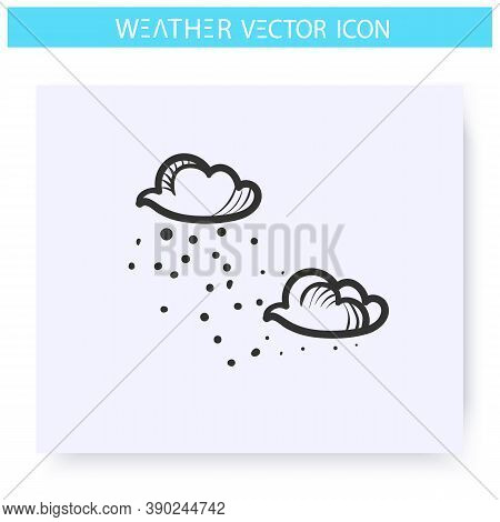Drizzle Icon. Shallow Rain.hand Drawn Sketch. Freezing Drizzle. Rainy Clouds. Overcast And Rainy Wea