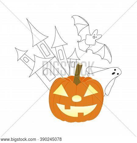 Halloween Pumpkin Lantern, Bat, Haunted Castle And Ghost. Hand-drawn Vector Illustration. Line Art A