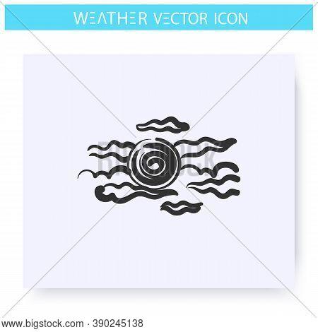 Haze Icon. Hand Drawn Sketch. Foggy Weather. Sun In Fog. Mist. Hazed Sky. Weather Forecast Concept.