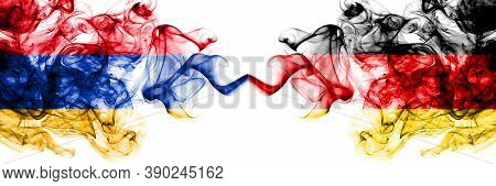 Armenia Vs Germany, German, Deutschland Smoky Mystic Flags Placed Side By Side. Thick Colored Silky