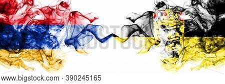 Armenia Vs Germany, German, Deutschland, Baden Wurttemberg Smoky Mystic Flags Placed Side By Side. T
