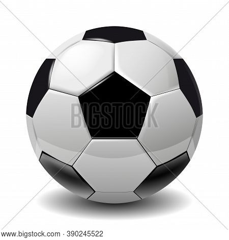 Football, Soccer Ball Isolated On White Background. Soccer Football Ball 3d Realistic Object For You