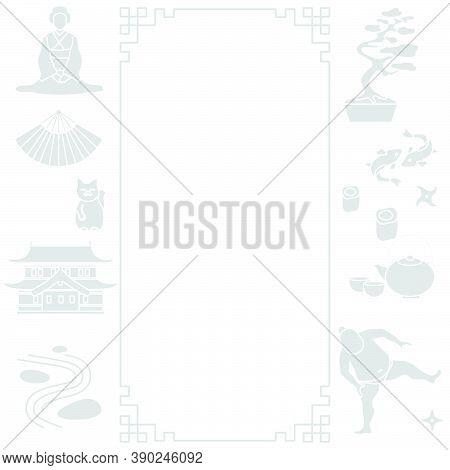 Vector Illustration Symbols Of Japanese Culture Castle Asian Woman In Kimono, Sumo Wrestler Shuriken