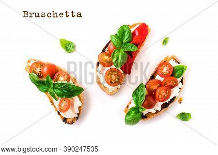 Bruschetta Sandwiches With Tomatoes, Cream Cheese, Grilled Paprika And Basil Isolated On White Backg