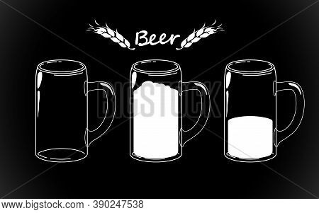 Set Craft Beer Glass Isolated. Vector Illustration Of Alcoholic Drink. Hand Drawn Sketch Of Ale Gobl