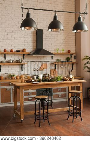Rustic Kitchen Details For Christmas. Rustic Kitchen Table Setting And Decor For New Year Close-up A
