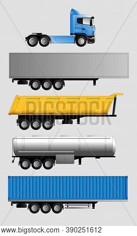 Variants Of Semi-trailers For A Truck For The Delivery Of Various Goods. Freight Transport, Tank, Va