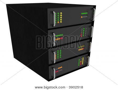 Web Hosting Server Rack On White