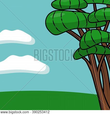 Green Bright Field Glade With A Beautiful Tree And Grass Against The Blue Sky With Two Clouds For So