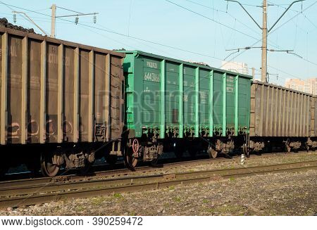 Freight Cars In A Moving Freight Train. Transportation By Rail. Russia Krasnoyarsk, October 17, 2020