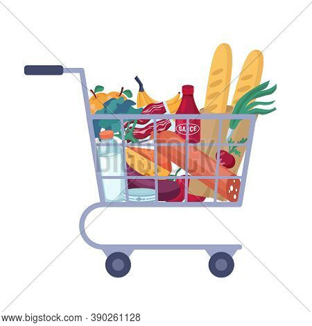 Full Shopping Cart With Store Groceries Isolated Trolley Full Of Food. Vector Grocery, Butchery And