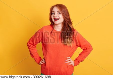 Happy Laughing Lady Wearing Casual Attire Looking At Camera With Satisfied Facial Expression, Keepin