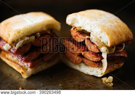 Close Up Of Rustic Argentine Sausage Sandwich