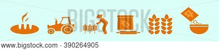 Set Of Oats Cartoon Icon Design Template With Peasant, Tractor And Various Models. Vector Illustrati