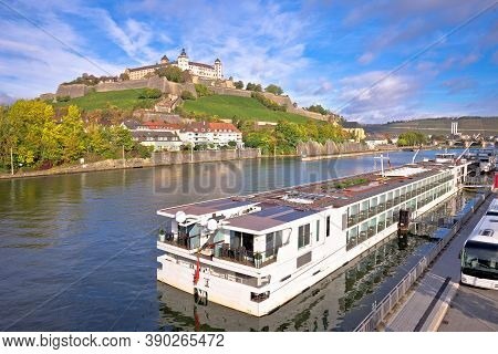 Main River Cruise Ship In Town Of Wurzburg View, Germany Tourism In Bavaria