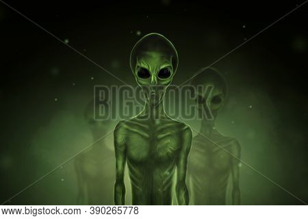 Aliens Are Green With Black Large Glass Eyes On A Dark Background. Ufo Concept, Aliens, Contact With