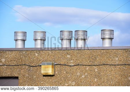 Flue Chimney Fixed To Building Exterior Wall Stainless Steel From Exhaust Boiler Plant Room