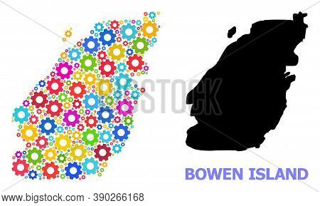 Vector Mosaic Map Of Bowen Island Combined For Services. Mosaic Map Of Bowen Island Is Constructed O